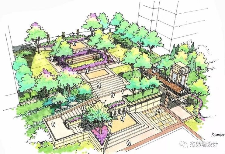 设计过程手绘图 【布局设计】在园区内部利用空间结合微地形绿化