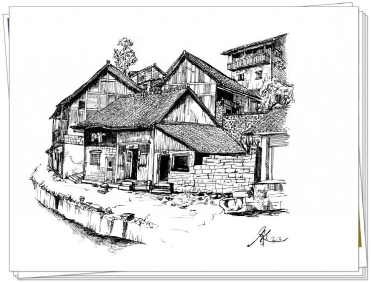 湖州风景铅笔画