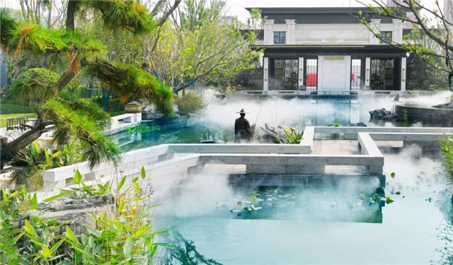 """湖景园林 绘制""""三进府门""""的景观布局 涵盖灵秀御湖,曲水栈道 叠石水景"""