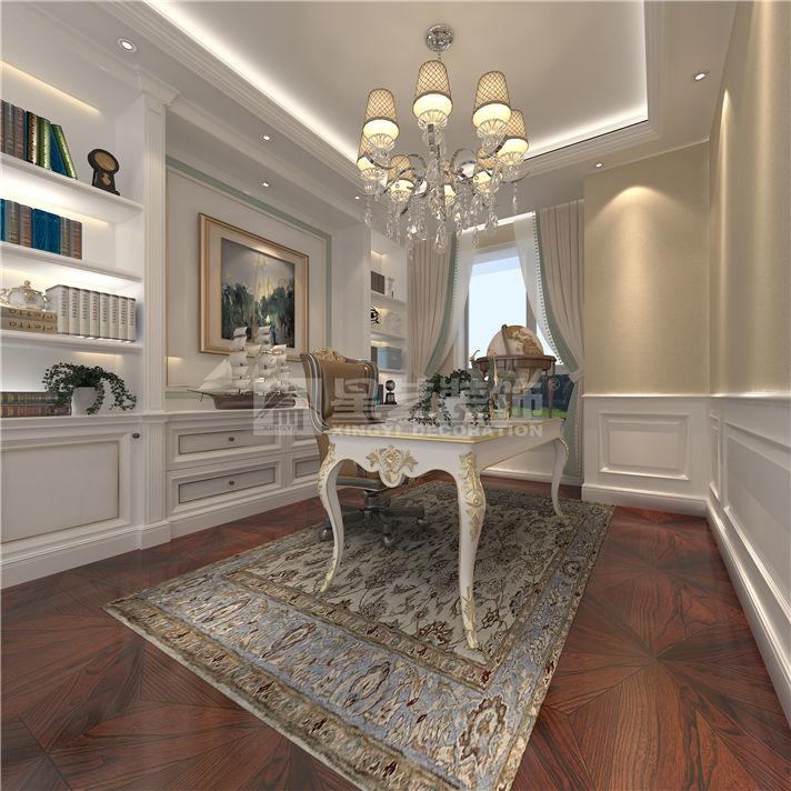 案例风格:法式风格   设计总监:姚辉   装修用材:墙纸,石材,地砖,拼花