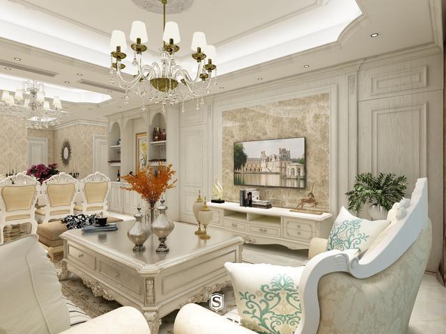 资讯 鉴赏 文章       客厅天花与地面上的拼花图案丰富且优美,使客厅图片
