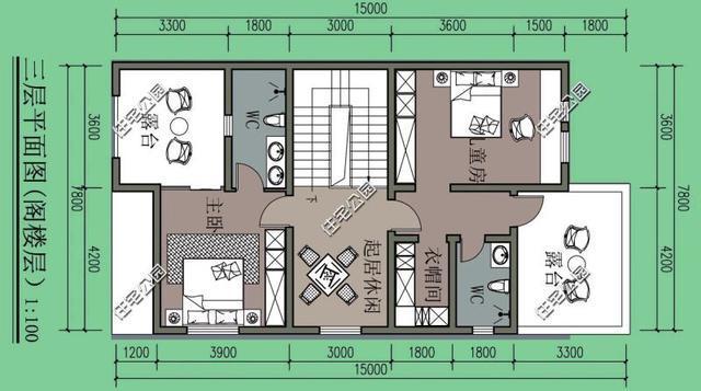 農村建房7.8米x15米左側無窗,這個設計可以有,含效果圖平面圖