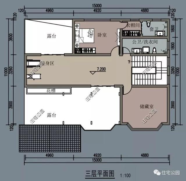 第二套:适合北方自建的13x15米平层别墅 这套为平层设计,有效的减少图片