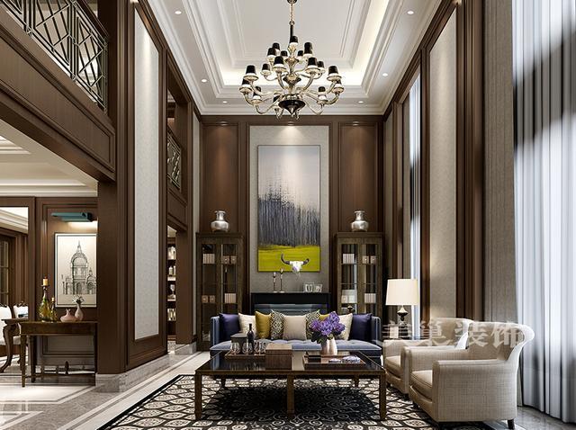 挑空客厅——沙发背景墙相对电视背景墙更加单一些但是合适的装饰画图片