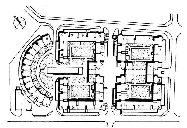 双周边排列 c,点群式 点群式住宅布局包括低层独院式住宅,多层点式及图片