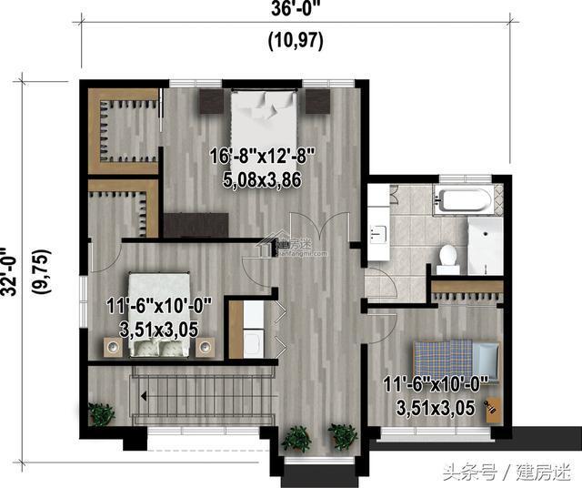 一次分享给大家4套农村自建房别墅10米x10米两层砖混房屋设计图,虽然图片