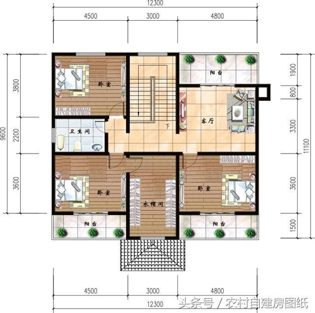 设计有堂屋放置神位,二层共6间卧室,足哆农村一般的家庭人口居住 了图片