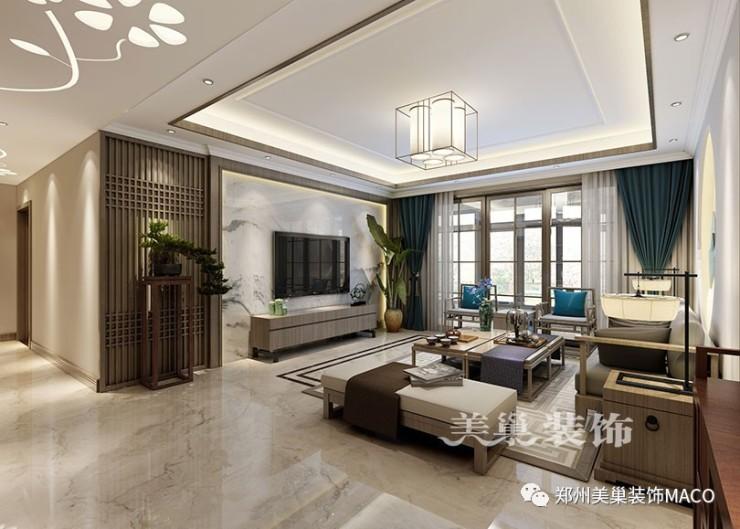 瀚海晴宇245平装修三室两厅新中式样板间——电视背景墙效果图