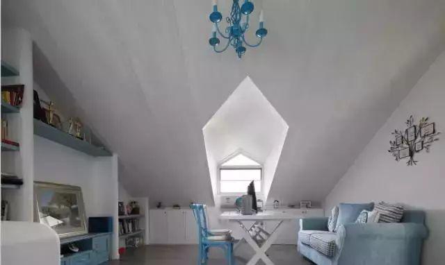 沿着斜面屋顶设计了几个开放式的书架,还摆放了一张小布艺沙发,有种