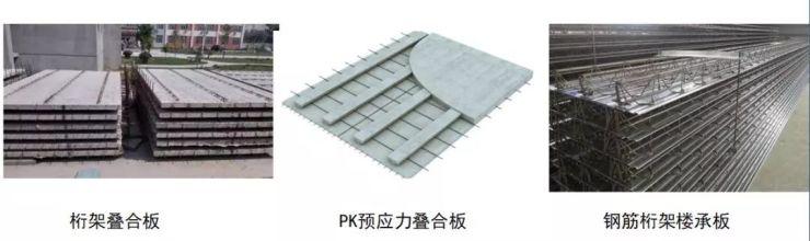 桁架叠合板,pk预应力叠合板,钢筋桁架楼承板(钢结构最为常用).