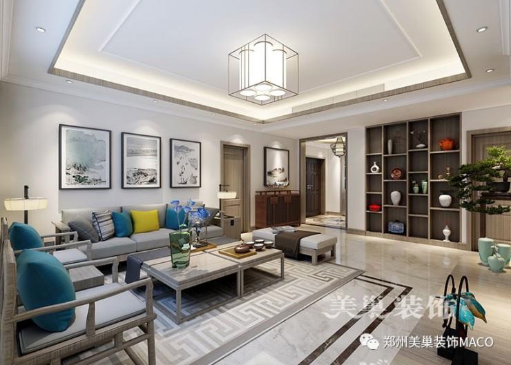 瀚海晴宇245平装修新中式3室2厅样板间——沙发背景墙效果图