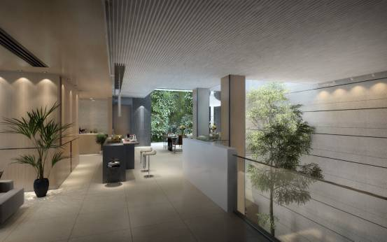 采光井也直下二层,正午阳光可照至地下二层地面处,北侧设计为音律墙面