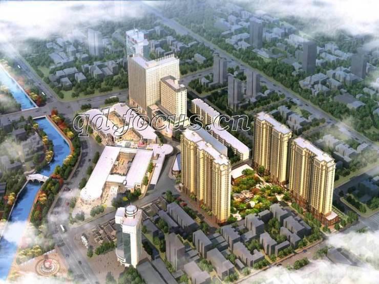 胶州湾·财富中心日景鸟瞰效果图