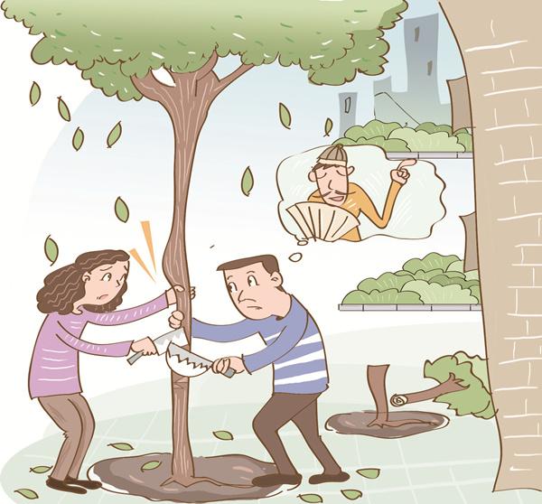 """迷信""""改运势"""" 洛阳一小区居民俩凌晨砍楼前树"""