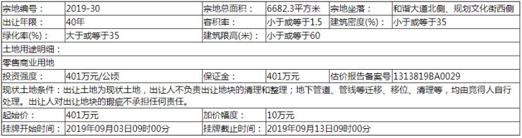 磁县自然资规告字[2019]019号土地拍卖出让