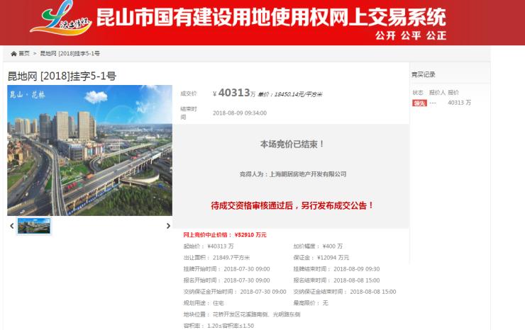 快讯|朗诗4.03亿拿昆山花桥1号地 楼面价12300元/㎡