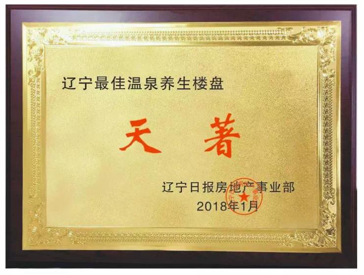 """天著国际温泉荣获""""2018辽宁最佳温泉养生楼盘"""""""
