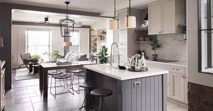 美式三居室家庭裝修美圖欣賞——開放式廚房書房溫馨優雅|萬發設計